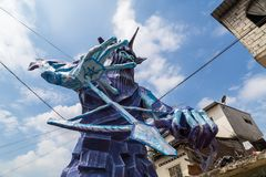 Sculptures monumentales de bois et de papier peint Image libre de droits