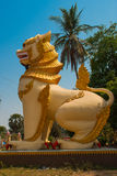 Sculptures of mythological animals at the entrance. Chinthe. Bago. Myanma. Burma. Stock Photo