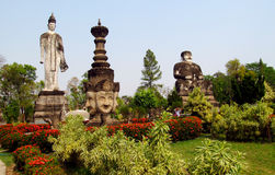 Sculptures in Nong Khai Buddha Park in Thailand Royalty Free Stock Images