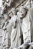 Sculptures on Notre Dame de Paris. Sculptures on fasade of The Notre Dame de Paris. France royalty free stock photo