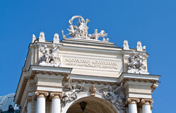 Sculptures on the Odessa Opera and Ballet Theater Stock Photos