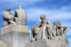 Sculptures of old people and males in Vigeland park , Oslo. OSLO, NORWAY - May 28: Statues in Vigeland park in Oslo, Norway on May 28, 2008. installed in the Royalty Free Stock Photos