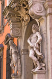 Sculptures on old prefecture building at downtown of Parma Royalty Free Stock Photos