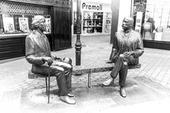Sculptures of Oscar Wilde and Eduard Wilde Royalty Free Stock Photo