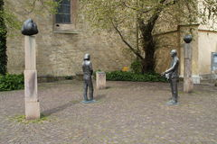 Sculptures in Osnabrueck. In front of a church Stock Images