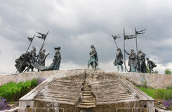 Sculptures over the Nibelungen Fountain dedicated to the heros of The Song of the Nibelungs, Austria Stock Photos
