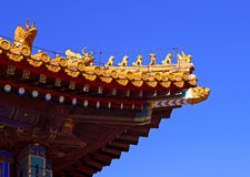 Sculptures on the palace roof in Forbidden City Stock Images