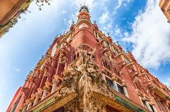 Sculptures of Palau de la Musica Catalana, Barcelona, Catalonia, Spain. Sculptural group on the corner of the Palau de la Musica Catalana, modernist Concert Hall stock image