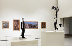 Sculptures and pictures in Modern Art hall Royalty Free Stock Photography