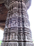 Sculptures on Pillar. Its photo of Sculptures on Pillar of ancient Aishwareshwar temple in India stock images