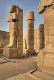 Sculptures and pillars in Karnak temple Stock Photo
