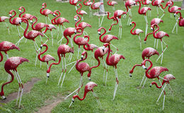 Sculptures of pink flamingos royalty free stock images