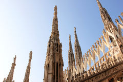 Sculptures and pinnacles at Duomo di Milano, Italy Royalty Free Stock Image