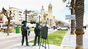 Sculptures of Ramon Casas and Santiago Rusiñol Royalty Free Stock Photo