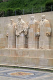 Sculptures on Reformation wall in Parc Des Bastions, Geneva, Swi Royalty Free Stock Photo
