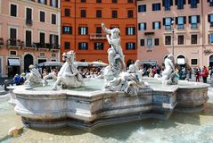 Sculptures in Rome city Navona place on May 29, 2014 Stock Photography