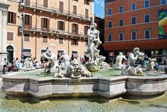 Sculptures in Rome city Navona place on May 29, 2014 Royalty Free Stock Photography