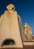 Sculptures on the roof of La pedrera Stock Images