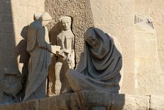 Sculptures in Sagrada Familia Stock Photos