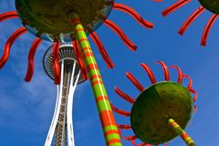 Sculptures and the Space Needle Stock Image