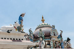 Sculptures in Sri Mariamman Temple. Dome and sculptures in Sri Mariamman Temple Royalty Free Stock Photo