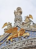 Sculptures on the St. Mark Cathedral in Venice. (Veneto, Italy royalty free stock photo