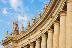 Sculptures of St Peter Basilica. Ancient columns and statues of Papal Basilica of St. Peter in the Vatican, Italy stock photography