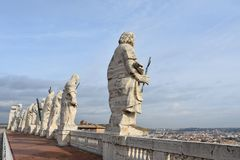 Sculptures on St Peter`s Basilica, Vatican stock photography
