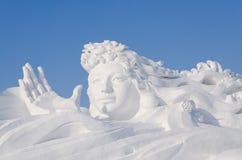 Sculptures sur neige à la glace de Harbin et au festival de neige à Harbin Chine Photos stock