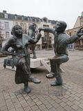 Sculptures in Theatre Square in the heart of Luxembourg town, Europe stock image