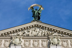 Sculptures on the top of Lviv Opera House Royalty Free Stock Image