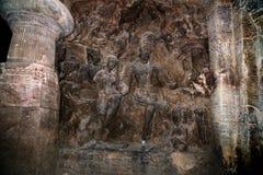 Sculptures trouvées dans les cavernes d'Elephanta image libre de droits
