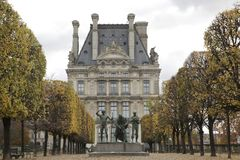 Sculptures in the Tuileries Gardens / Louvre museum stock images