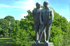 Sculptures of two naked males in Vigeland park , Oslo. OSLO, NORWAY - May 28: sculptures of two naked males in Vigeland park in Oslo, Norway on May 28, 2008 Stock Image