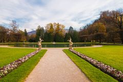 Sculptures of unicorns in the park of Hellbrunn palace, Salzburg. Sculptures of unicorns in the beautiful park of Hellbrunn palace, Salzburg, Austria royalty free stock image