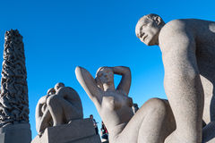 Sculptures in Vigeland park couples Stock Photography