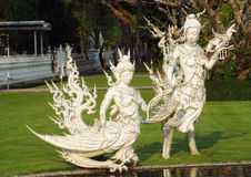 Sculptures of White Temple Wat Rong Khun in Chiang Rai Stock Photos