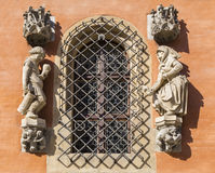 Sculptures at the window of town hall. Wroclaw. Poland Royalty Free Stock Photo