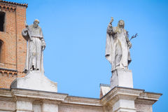 Sculpturs on a facade of Saint Peter Mantua Cathedral on a square infront of in Mantua Royalty Free Stock Image