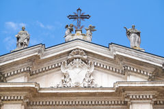 Sculpturs on a facade of Saint Peter Mantua Cathedral on a square infront of in Mantua Royalty Free Stock Images