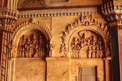 Sculpures antiguos en el pasillo darbhar del palacio del maratha del thanjavur Foto de archivo libre de regalías