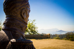 Sculputre of Simon Bolivar. A sculpture of Simon Bolivar in the Parco Virgiliano that looks Miseno, Naples, Italy Stock Images
