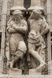 Scultpture Dome MIlan. Sculpture on the front of the Dome in MIlan stock photo