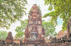 Scultura antica Buddha dell'arenaria Fotografie Stock Libere da Diritti
