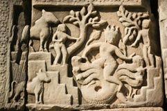 Scultura antica di Varuna il dio indù delle tempeste Fotografie Stock