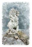 Scultura architettonica di schizzo di un leone in una vecchia proprietà terriera nobile Immagini Stock Libere da Diritti