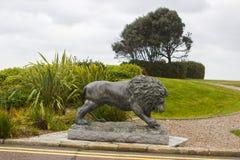 Scultura bronzea del leone nei motivi dello Slieve Donard Hotelt fotografia stock libera da diritti