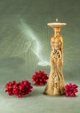 Scultura bronzea del supporto di candela per la decorazione interna, oggetto di arte Fotografia Stock