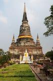Scultura buddista al tempio in Ayuthaya Tailandia Immagine Stock
