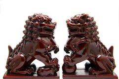 Scultura cinese del leone Fotografia Stock
